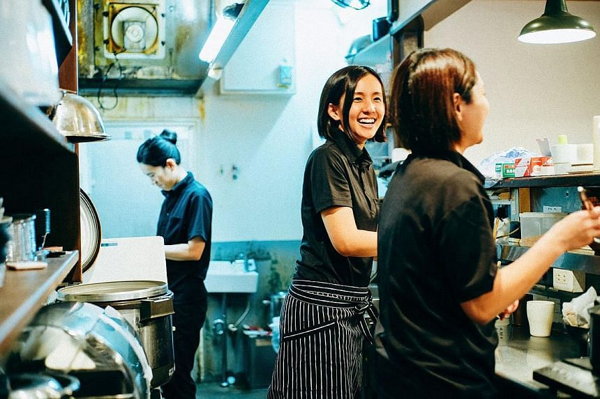 Ms Akemi Nakamura (at centre) owns Kyoto eatery Hyakushokuya, which closes each day after serving just 100 meals. None of its workers works beyond 5.30pm. PHOTO: HYAKUSHOKUYA