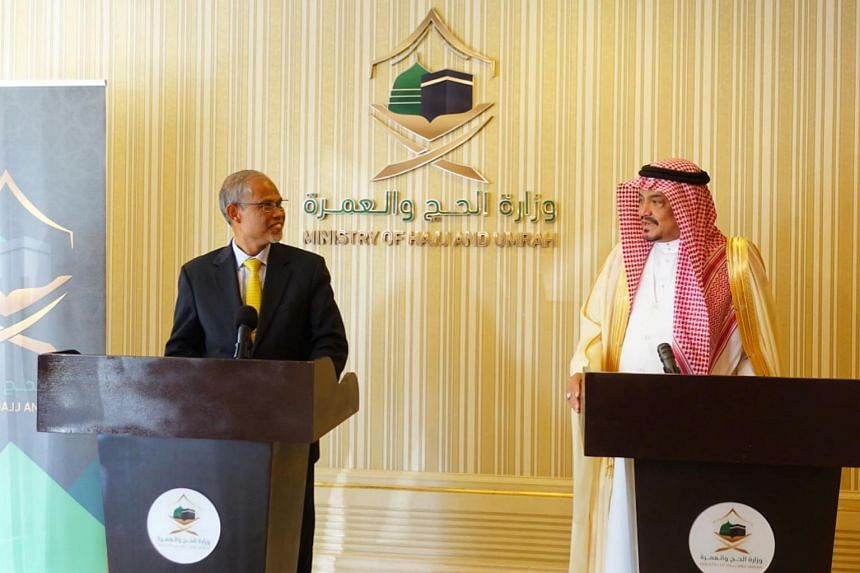 Minister-in-charge of Muslim Affairs Masagos Zulkifli with the Saudi Minister of Haj and Umrah, Dr Mohammed Saleh Taher Benten, on Jan 19, 2020. Mr Masagos is currently in Saudi Arabia for the annual Haj Ministerial Meeting.