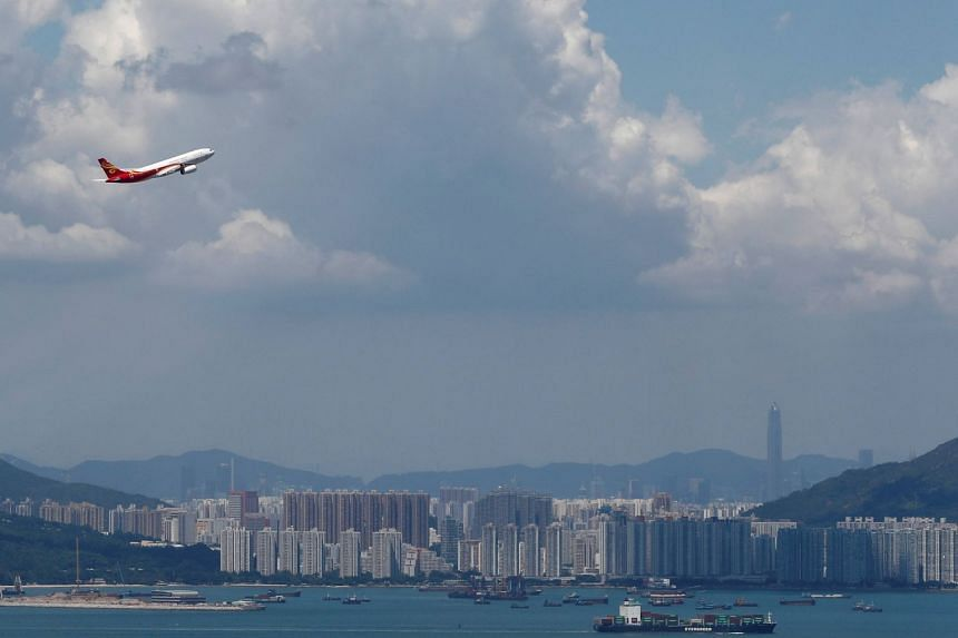 A Hong Kong Airlines plane takes off from the Hong Kong International Airport, on Sept 6, 2019.