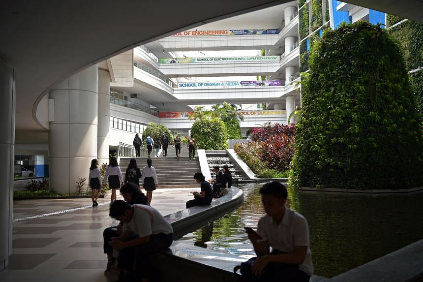 Students at the ITE College Central on 10 April, 2019.