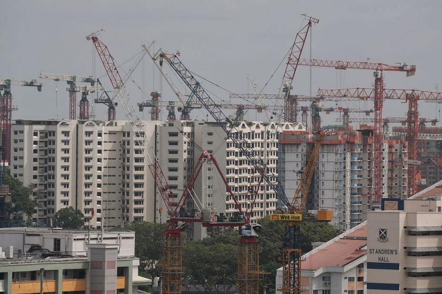 Construction equipment seen around HDB flats in Kim Keat Avenue, on Jan 14, 2020.