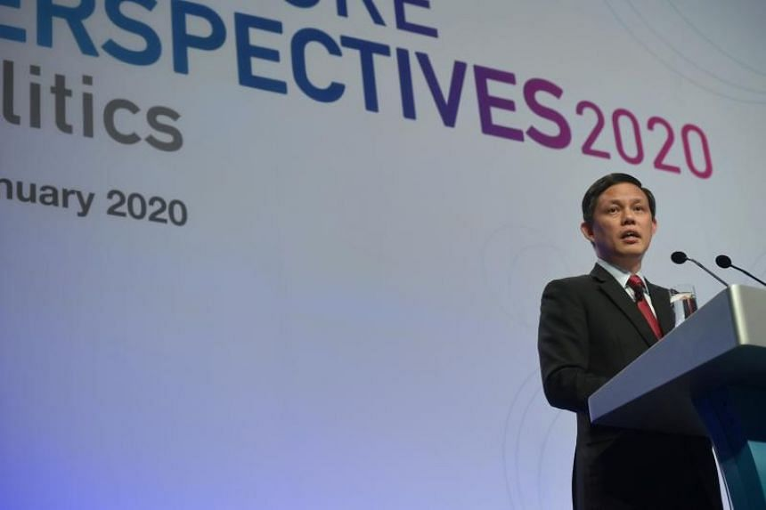 """Trade and Industry Minister Chan Chun Sing at the Institute of Policy Studies' Singapore Perspectives 2020 """"Politics"""" conference on Jan 20, 2020."""
