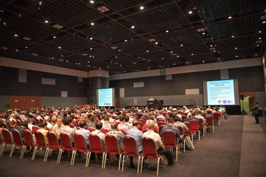 A view of the town hall meeting for investors holding Hyflux's medium-term notes and perpetual securities and preference shares held at Suntec City Convention Centre on Jan 20, 2020.