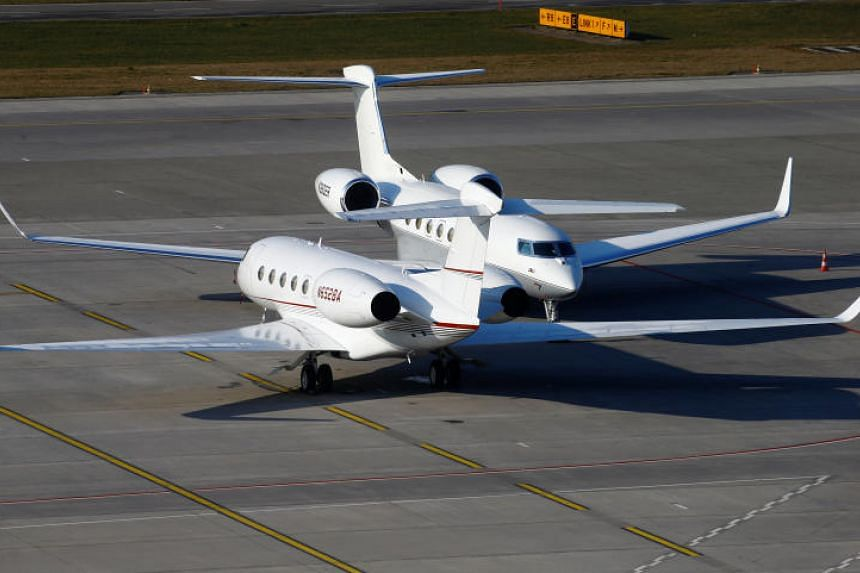 Business aircraft at the airport in Zurich on Jan 20, 2020. A so-called Sustainable Aviation Fuel will be available at Zurich airport for private jets flying into Davos this week for the World Economic Forum.