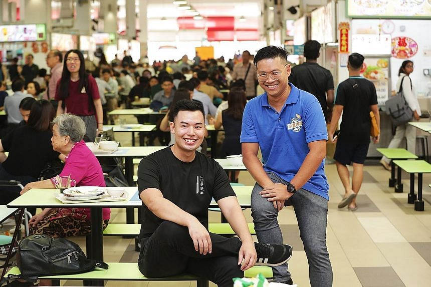 Mr Syafiq Lee (left), 28, signed up to be a mentor under the Hawkers' Development Programme, which was jointly developed by the National Environment Agency and SkillsFuture Singapore. Mr Gary Lim, 39, one of 26 aspiring hawkers who had completed an a