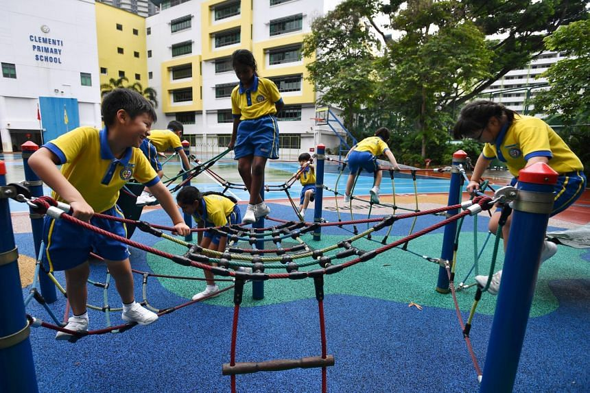 Students play at the playground in Clementi Primary School, on Jan 21, 2020.