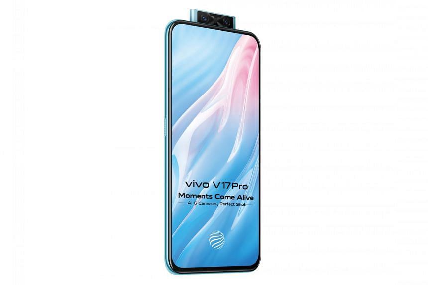 The V17 Pro has two front cameras (a 32MP main camera and an 8MP ultra-wide camera) in a pop-up module that springs smoothly from inside the phone. PHOTO: VIVO