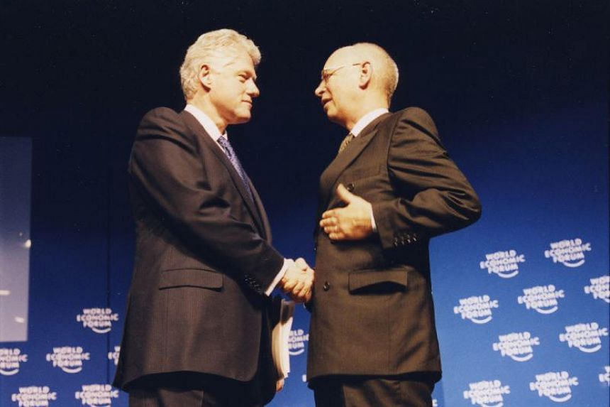 Then US President Bill Clinton and World Economic Forum founder Klaus Schwab in Davos, Switzerland, in 2000.
