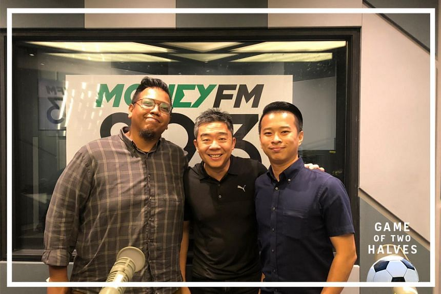 Money FM's Bernard Lim (centre) is joined by ST sports correspondents Sazali Abdul Aziz (left) and David Lee (right) on this episode of #GameOfTwoHalves.