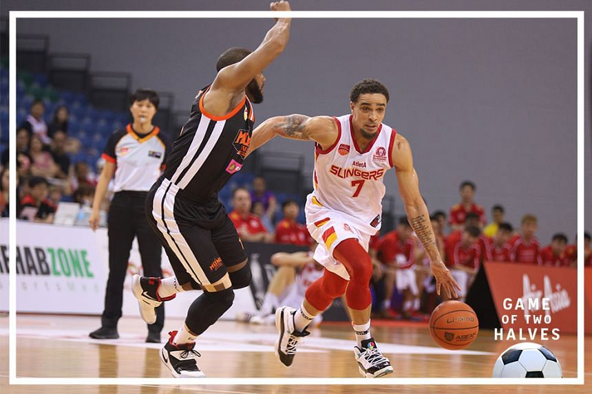 Singapore Slingers' Marcus Ryan Elliott (right) and Mono Vampire Basketball Club's Preston Knowles pictured in action at the OCBC Arena, January 19, 2020