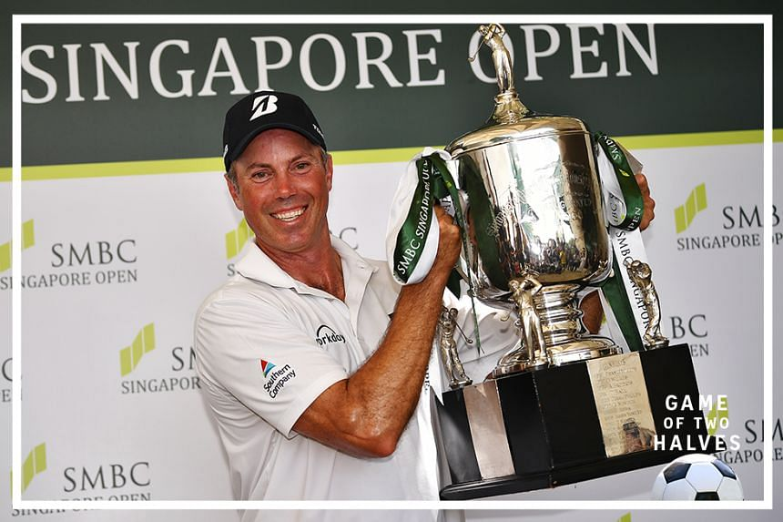 American golfer Matt Kuchar with his trophy after winning the final round of SMBC Singapore Open at Sentosa's Serapong Course on 19 Jan 2020.