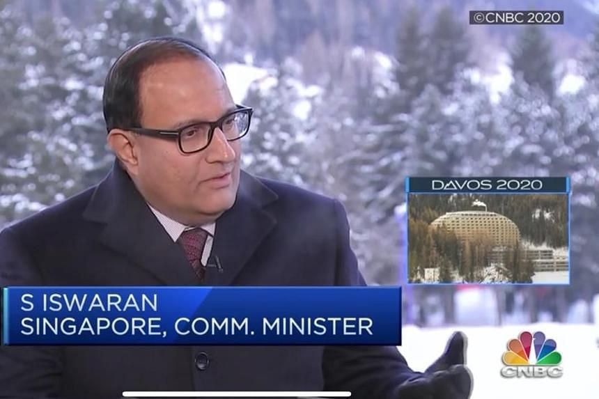 Communications and Information Minister S. Iswaran speaking during an interview with CNBC's Squawk Box show in Davos on Jan 21, 2020.