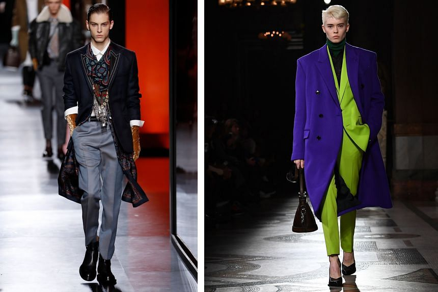 Kim Jones' collection for Dior (left) at the men's Paris Fashion Week was upscale and decadent, while Kris Van Assche played with bold rich hues in his Berluti collection (right).