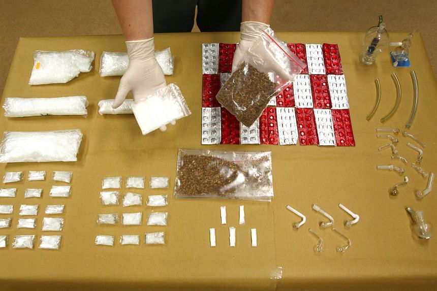 An assortment of drugs with a street value of more than $239,000 that were seized from a man who was arrested at the Woodlands Checkpoint, on May 20, 2015.