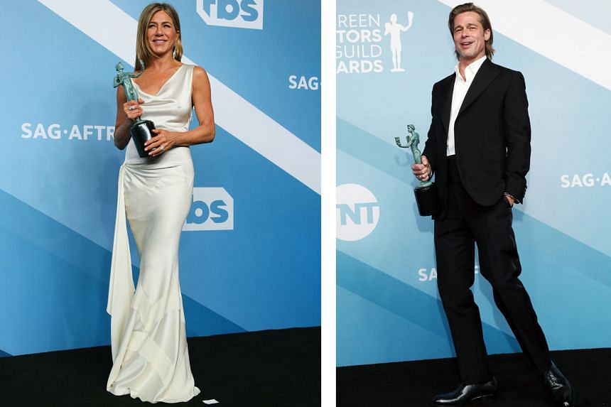 Jennifer Aniston (left) won the best actress in a TV drama for her role in The Morning Show, while Brad Pitt (right) was named best supporting actor for his role in Once Upon A Time... In Hollywood.