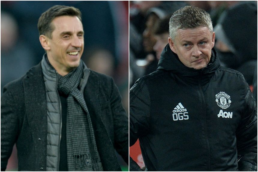 Outspoken TV pundit Gary Neville (left) had said that Manchester United was in a mess. But manager Ole Gunnar Solskjaer believes it is not the right time to start a blame game.
