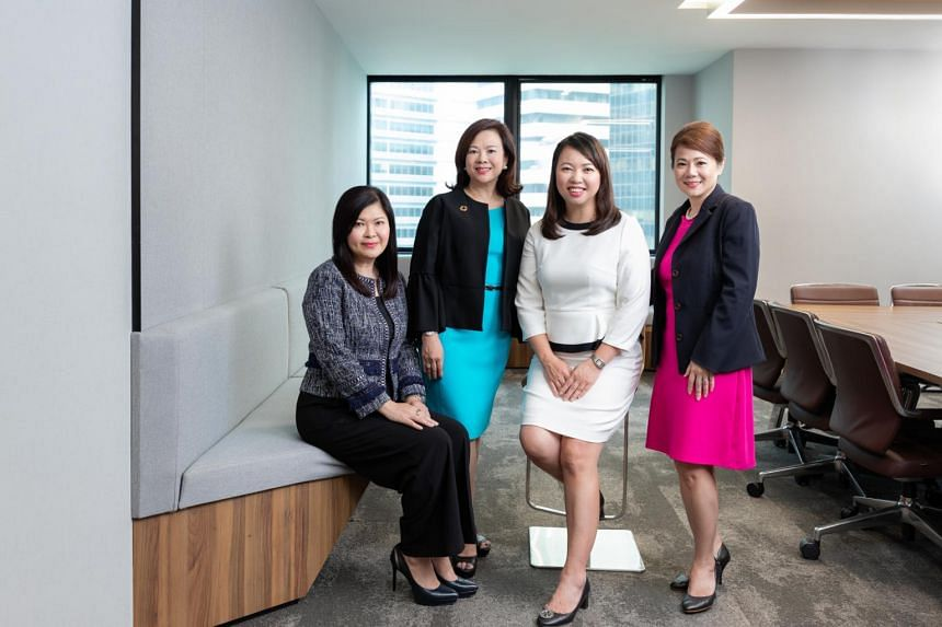 Women on City Development Limited's senior management team include (from left): head of property development Lee Mei Ling, chief sustainability officer Esther An, group CFO Yiong Yim Ming and CEO, commercial, Yvonne Ong.