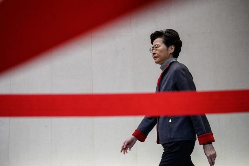 A photo taken on Jan 14, 2020, shows Hong Kong's Chief Executive Carrie Lam during her weekly press conference in Hong Kong.