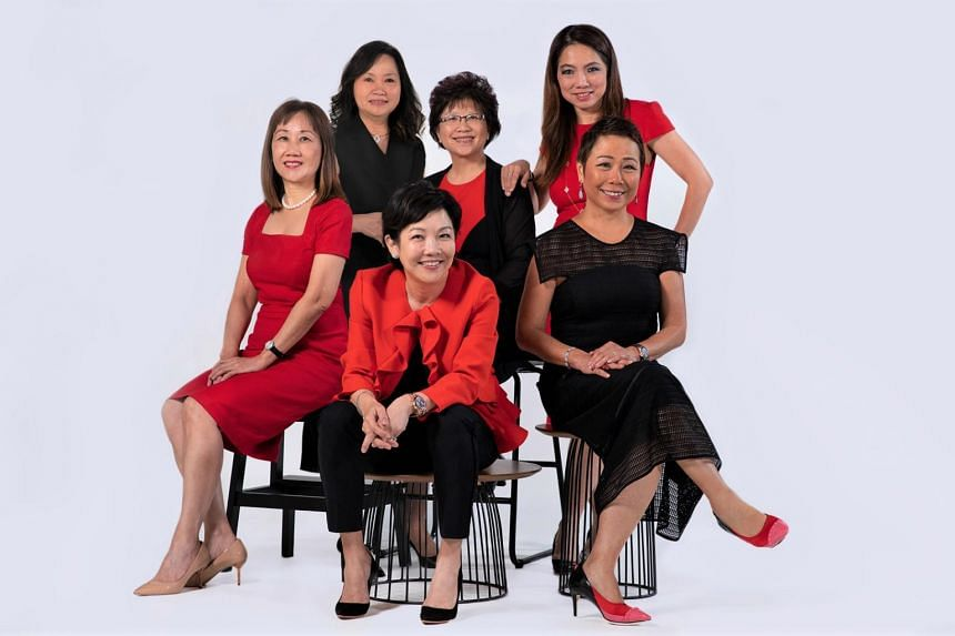 The women on DBS' management committee make up a third of its members. (Top row, from left): head of capital markets group Eng-Kwok Seat Moey, chief financial officer Chng Sok Hui and head of institutional banking group Tan Su Shan. (Bottom row, fr