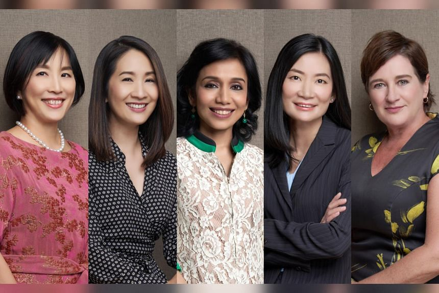 SGX senior female executives include (from left): chief risk officer Agnes Koh, head of marketing & communications Teo Ai June, chief technology officer Tinku Gupta, head of markets (equities) Janice Kan and head of trading and clearing services (equ