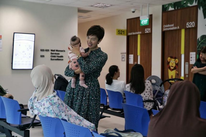 Minister for Manpower and Second Minister for Home Affairs Josephine Teo during a tour of the Temasek Foundation Integrated Maternal and Child Wellness Hub.