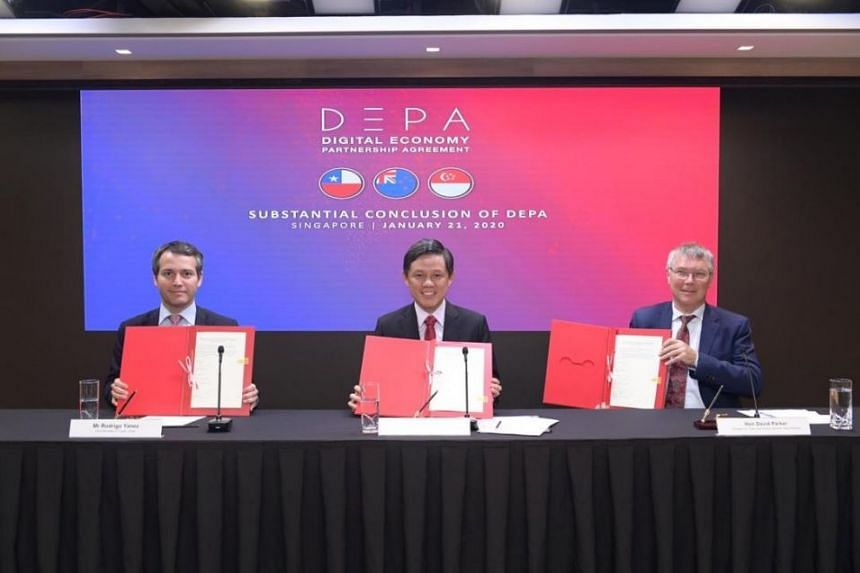 Minister for Trade and Industry Chan Chun Sing, New Zealand's Minister for Trade and Export Growth David Parker (right) and Chile's Vice-Minister for Trade Rodrigo Yanez signed a joint statement on the substantial conclusion of the Digital Economy Pa