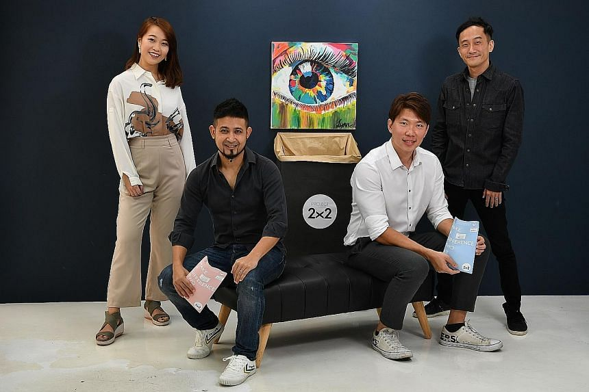 Above: Two Of A Kind co-founders Javad Namazie (seated, left) and Darryn Tan (standing) with Tay Paper Recycling's Mr Andrew Tay and contact lens user Candy Choo. Left: The free envelopes for blister packs.