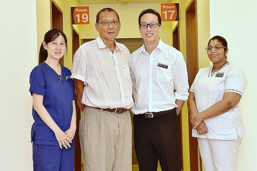 (From left) SGH's Ms Eleanor Chew, hip replacement surgery patient Lionel Liew, Dr Pang Hee Nee and nurse clinician Rajashulakshana Rajaram at the launch of the enhanced recovery programme last week. Singapore General Hospital physiotherapist Eleanor