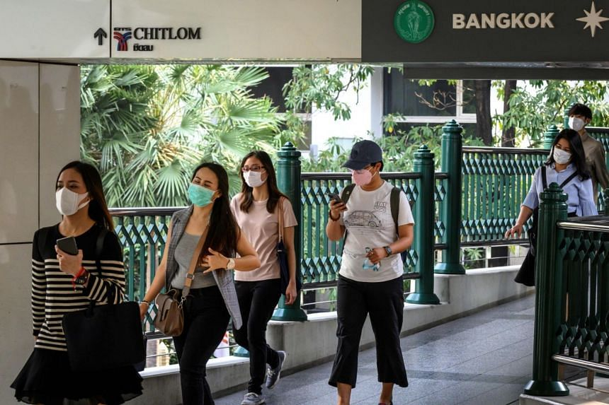 People wearing face masks in Thailand's capital Bangkok, on Jan 22, 2020.