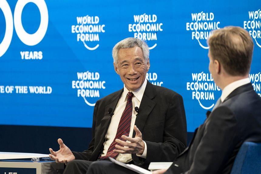 PM Lee speaking at the World Economic Forum in Davos, Switzerland, Jan 22, 2020.