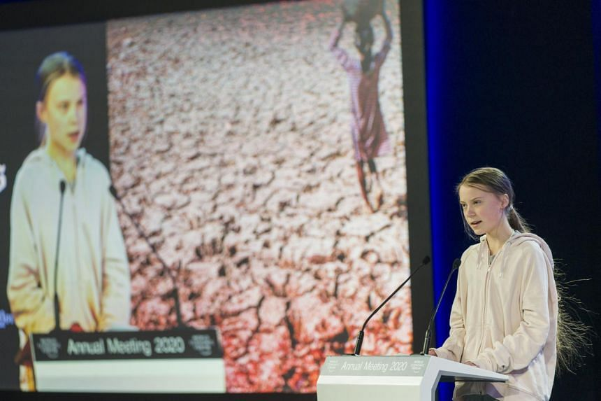 Swedish climate activist Greta Thunberg addresses a panel session during the 50th annual meeting of the World Economic Forum in Davos, Switzerland, on Jan 21, 2020.