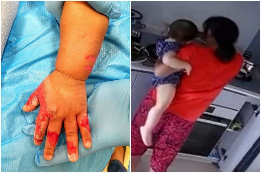 The maid had initially claimed it was an accident in which the baby touched a hot cooking pot in the kitchen. However, after viewing the footage, the maid said that she had hurt the child so she could go home.