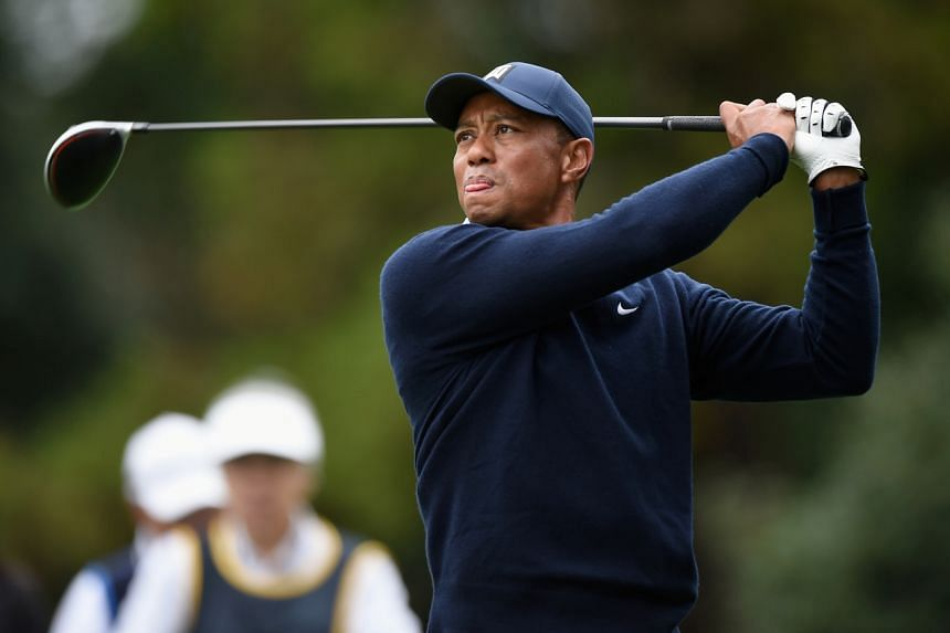 Tiger Woods plays a tee shot on the 11th hole at Accordia Golf Narashino Country Club on Oct 21, 2019.