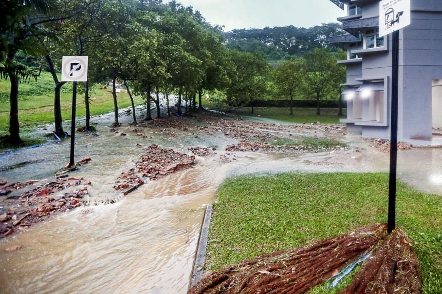 A photo taken on Nov 10, 2018, shows the aftermath after heavy rains caused a flood in the Bukit Batok area.