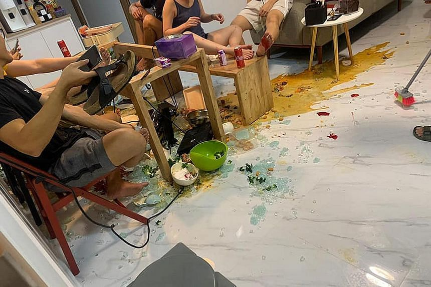 Ms Stephanie Chu and her husband hosted a hotpot meal at their house on Sunday, only to have the tempered glass table they were eating at shattering 30 minutes into the meal. The couple said they were not informed that the table could not withstand t