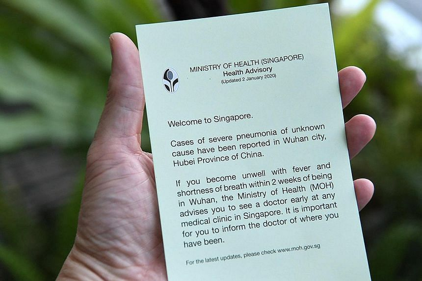 The message on the Ministry of Health's advisory given out to travellers. ST PHOTO: DESMOND FOO
