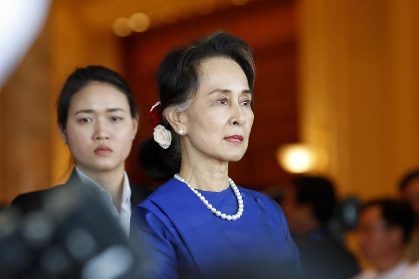 In a photo taken on Jan 17, 2020, Myanmar State Counselor Aung San Suu Kyi waits for the arrival of Chinese President Xi Jinping at the presidential house in Naypyitaw.
