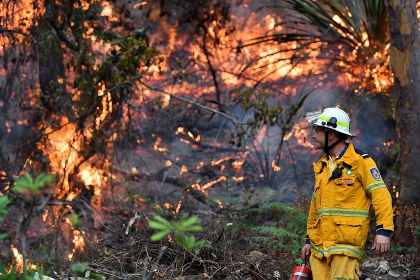 A firefighter responding to bush fires at the Spencer area in Central Coast, some 90 to 110km north of Sydney, on Dec 9, 2019.
