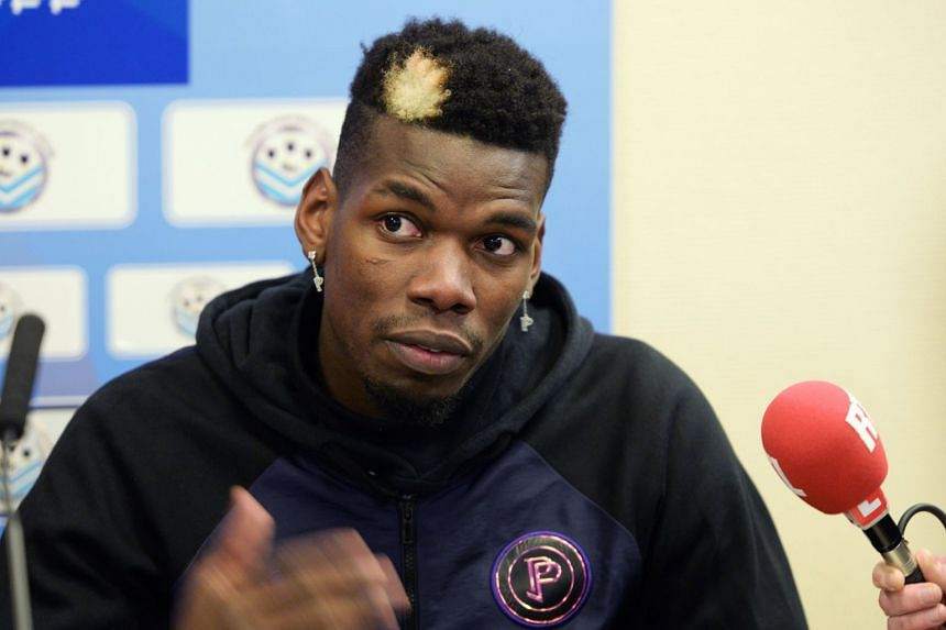 Pogba gives a press conference after a gala football match in Tours, central France, on Dec 29, 2019,