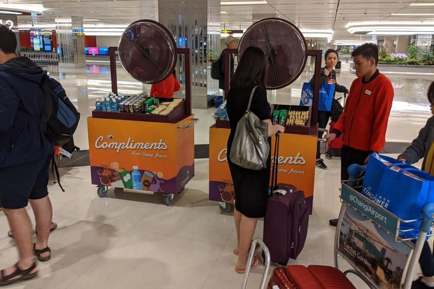 Airport giving out free refreshments at baggage belts.