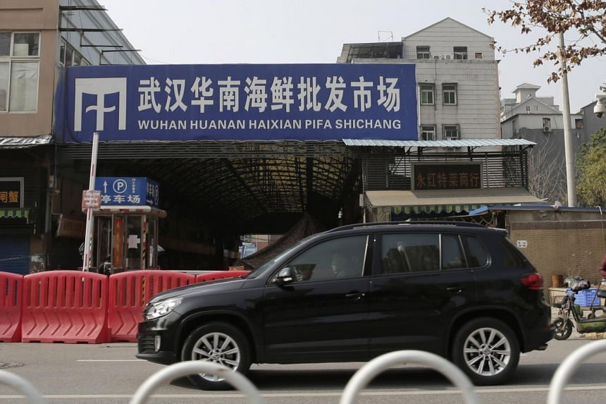 A view of the exterior of the closed Huanan Seafood Wholesale Market in Wuhan on Jan 20, 2020, where the first cases of the mysterious pneumonia were detected.