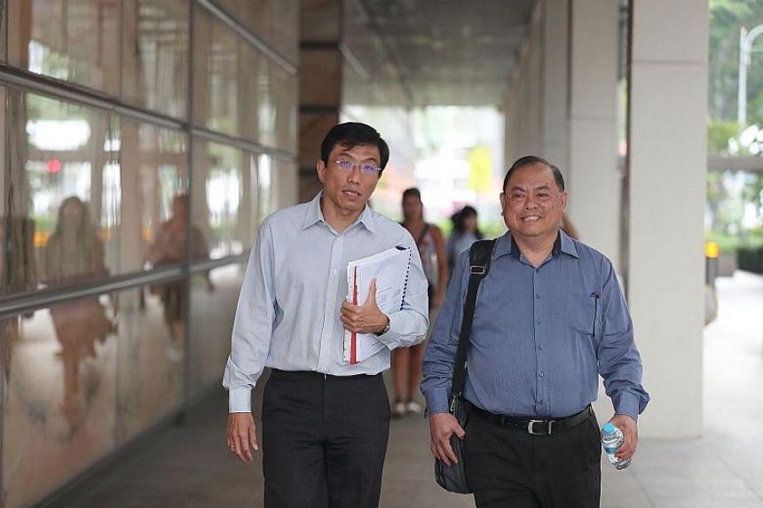 SDP secretary-general Chee Soon Juan (left) and vice-chairman John Tan leaving the Supreme Court on Jan 16,2020.