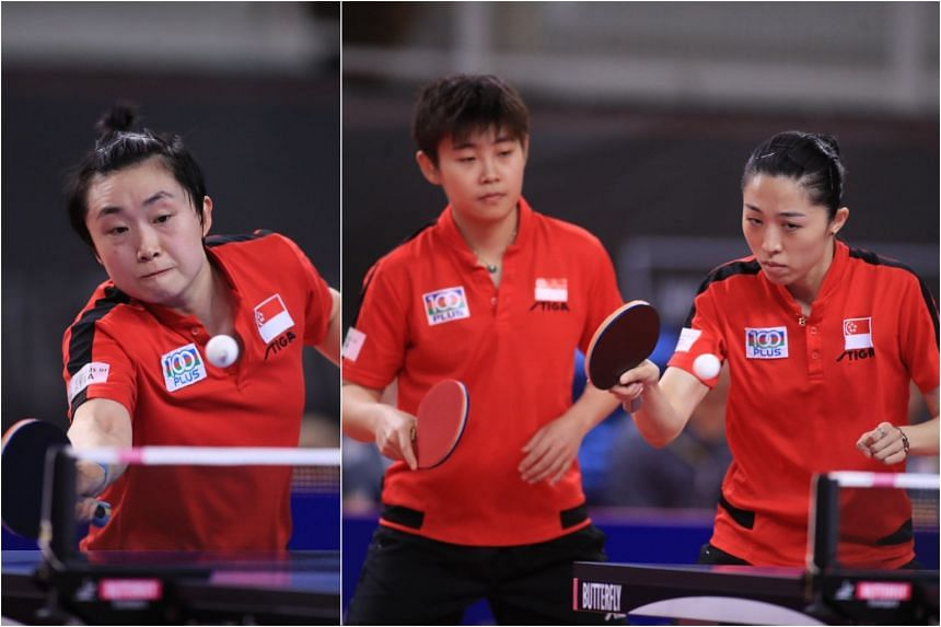 (From left) Singapore's Feng Tianwei, Lin Ye and Yu Mengyu at table tennis' ITTF World Team Qualification Tournament for the Tokyo 2020 Olympic Games, on Jan 22, 2020.