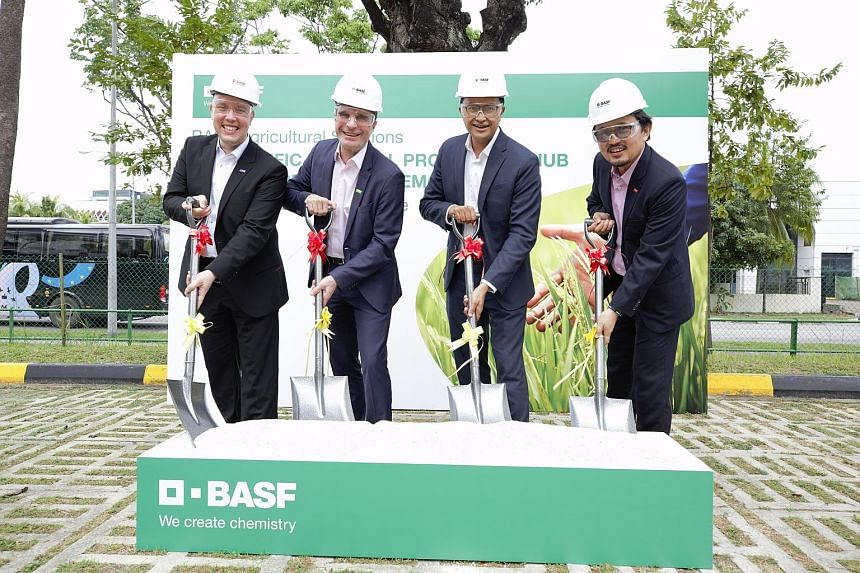 (From left) BASF agricultural solutions Asia-Pacific senior vice-president Gustavo Palerosi Carneiro; BASF agricultural solutions president Vincent Gros; Singapore Economic Development Board director of energy and chemicals Khalil A. Bakar and head o