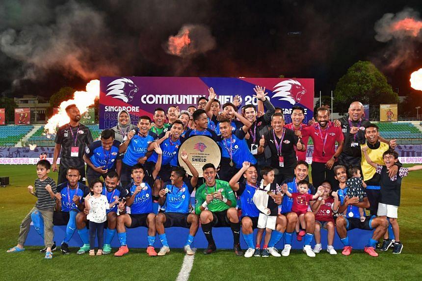 Home United celebrate after winning the Singapore Premier League Community Shield on Feb 23, 2019 at Jalan Besar Stadium.