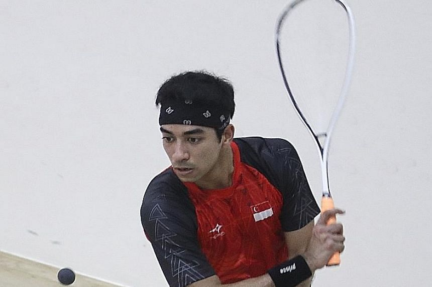 Singapore's highest-ranked men's player Samuel Kang in action at the Philippines SEA Games last month. He won a men's team bronze and a mixed team silver.