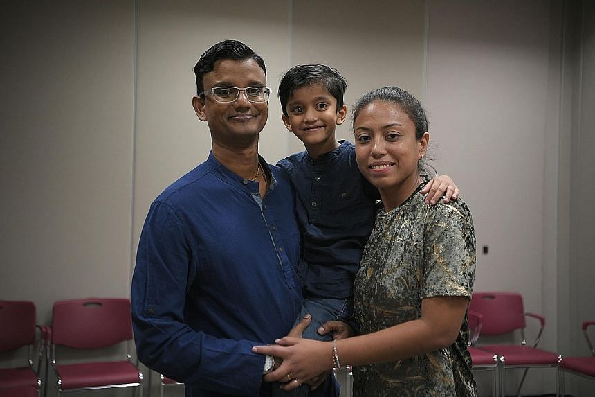 Ms Eva Chander with her husband Prem Chander and their six-year-old son Constantine, who is homeschooled.