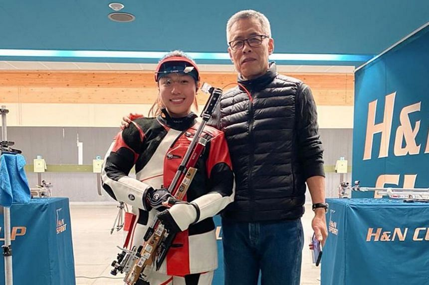 Adele Tan celebrated a gold medal in women's 10m air rifle event at the H&N Cup in Munich on Jan 26, 2020.