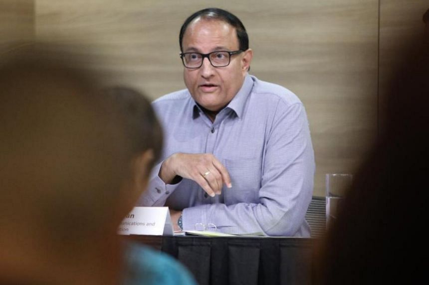 Minister for Communications and Information S. Iswaran at a press conference on Jan 27, 2020.