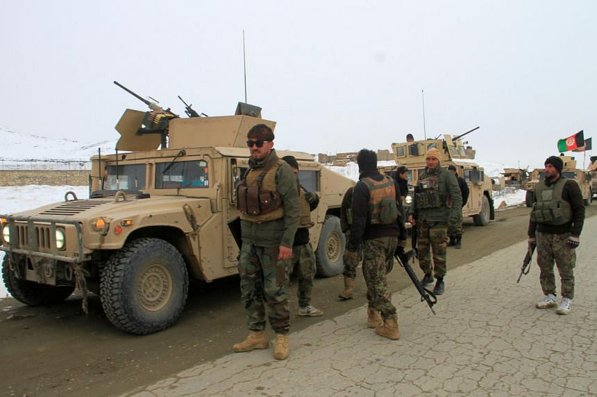 Afghan National Army forces heading to the site of the airplane crash in Deh Yak, Afghanistan, on Jan 27, 2020.